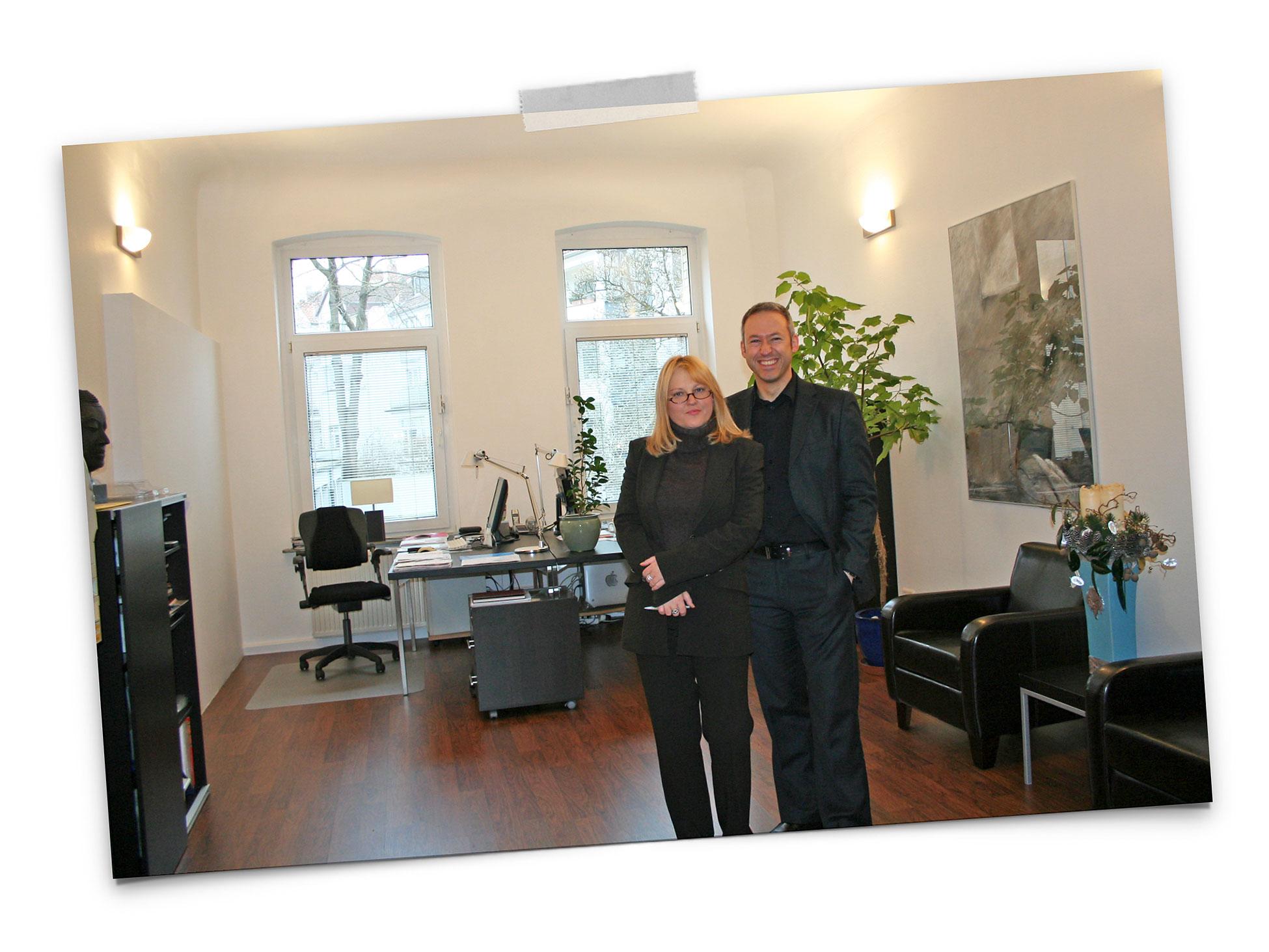 Kirsten Broska-Rogge und Michael Brüggemann in den Agenturräumen 2007